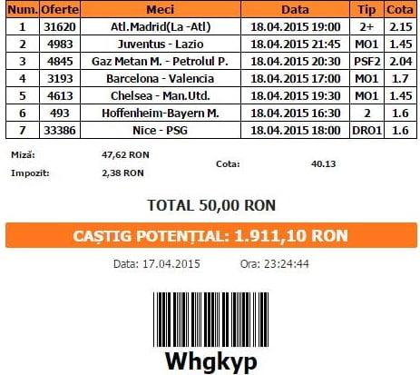 Bilet pariuri propus de Costi pentru 18 aprilie 2015