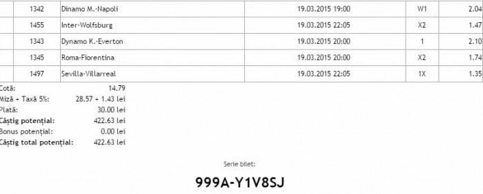 Bilet pariuri propus de Costi pentru 19 martie 2015