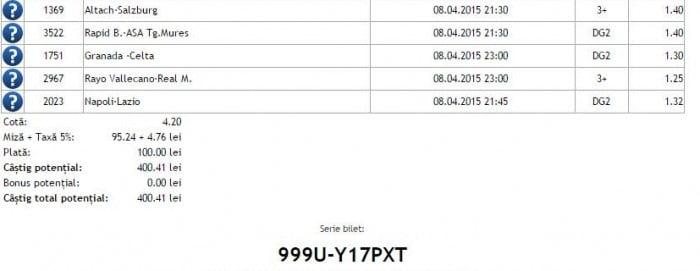 Bilet pariuri propus de Costi pentru 8 aprilie 2015
