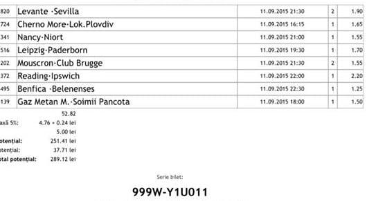 Bilet pariuri propus de Costin pentru 11 septembrie 2015