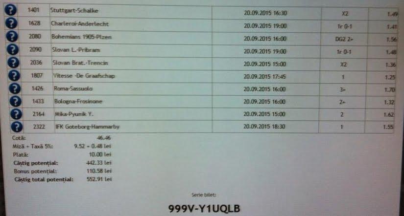 Bilet pariuri propus de Costin pentru 20 septembrie 2015