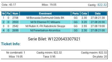 Bilet pariuri propus de Costin pentru 27 august 2015