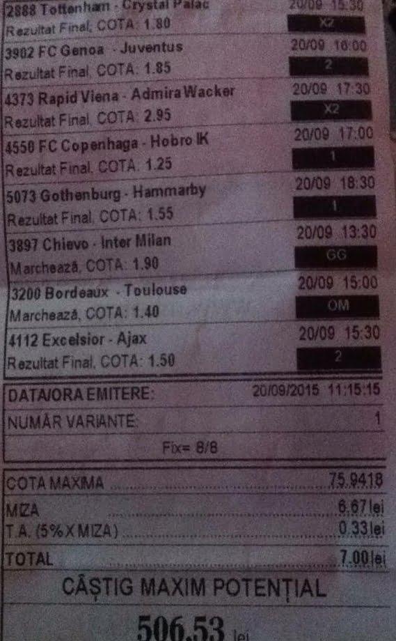 Bilet pariuri propus de Costin2 pentru 20 septembrie 2015