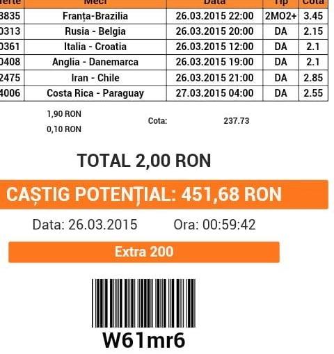 Bilet pariuri propus de Cristi pentru 26 martie 2015