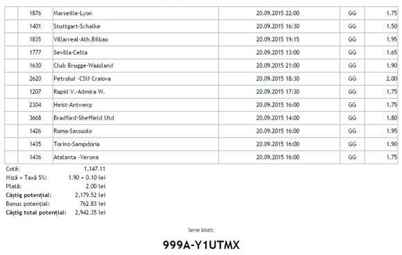 Bilet pariuri propus de Cristi2 pentru 20 septembrie 2015