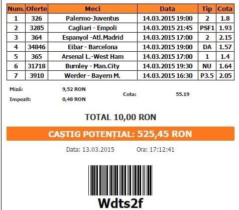 Bilet pariuri propus de Cristian pentru 14 martie 2015