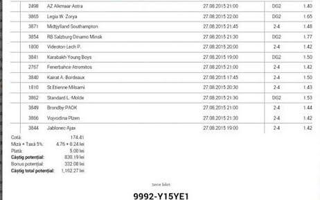 Bilet pariuri propus de Cristian pentru 27 august 2015