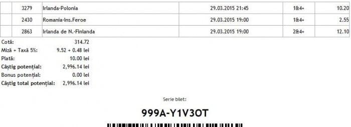 Bilet pariuri propus de Dan pentru 29 martie 2015