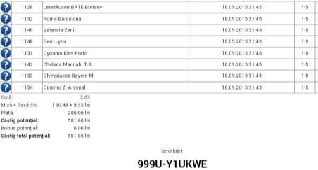 Bilet pariuri propus de Dorel pentru 16 septembrie 2015