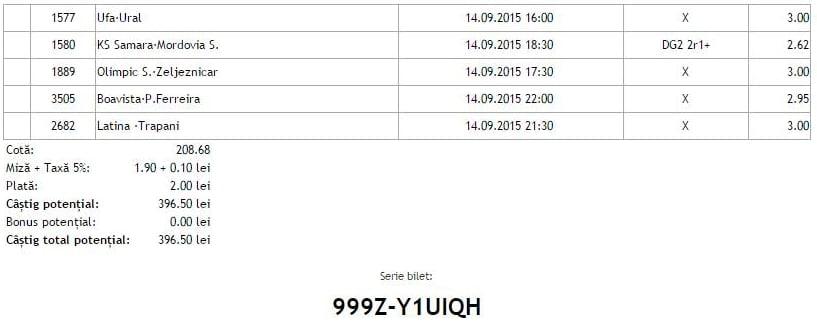 Bilet pariuri propus de Eugen pentru 14 septembrie 2015