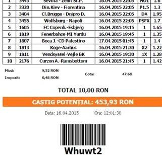 Bilet pariuri propus de Florin pentru 16 aprilie 2015