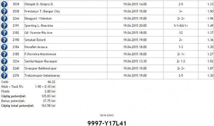 Bilet pariuri propus de Florin pentru 19 aprilie 2015