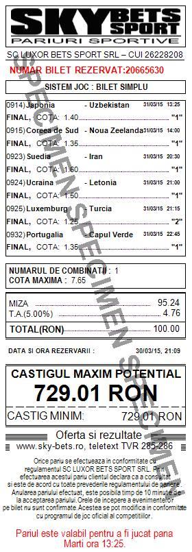 Bilet pariuri propus de Florin pentru 31 martie 2015