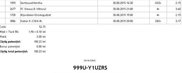 Bilet pariuri propus de George pentru 30 august 2015