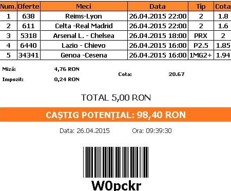Bilet pariuri propus de Horia pentru 26 aprilie 2015