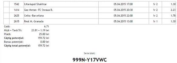 Bilet pariuri propus de Ilie pentru 5 aprilie 2015