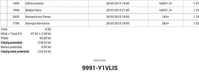 Bilet pariuri propus de Ion pentru 28 martie 2015