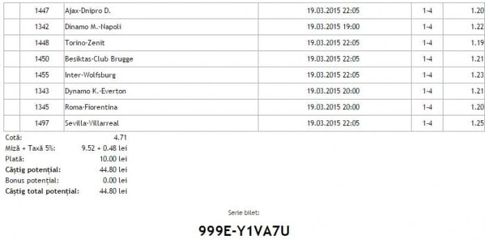 Bilet pariuri propus de Ion1 pentru 19 martie 2015