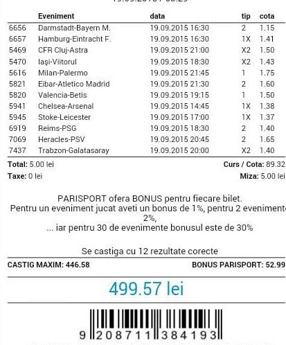 Bilet pariuri propus de Ionuţ1 pentru 19 septembrie 2015