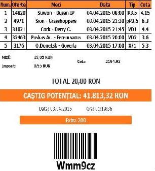 Bilet pariuri propus de Ionut pentru 1 aprilie 2015