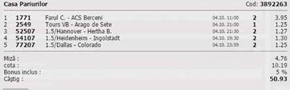 Bilet pariuri propus de Ionut pentru 10 aprilie 2015