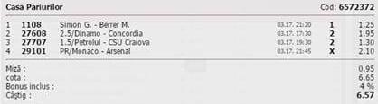 Bilet pariuri propus de Ionut pentru 17 martie 2015