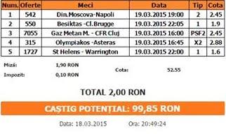 Bilet pariuri propus de Ionut pentru 19 martie 2015