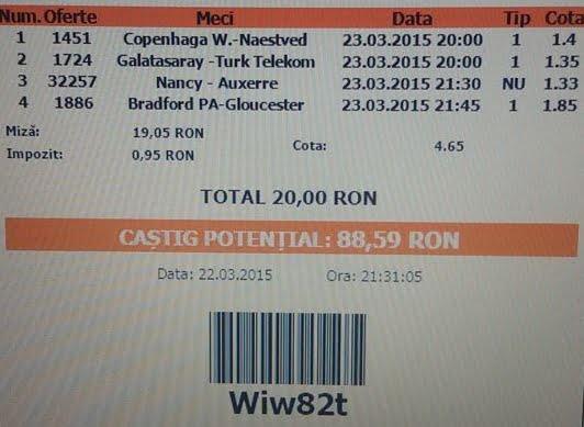 Bilet pariuri propus de Ionut pentru 23 martie 2015