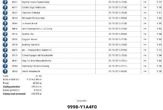 Bilet pariuri propus de Ionut pentru 23 noiembrie 2015