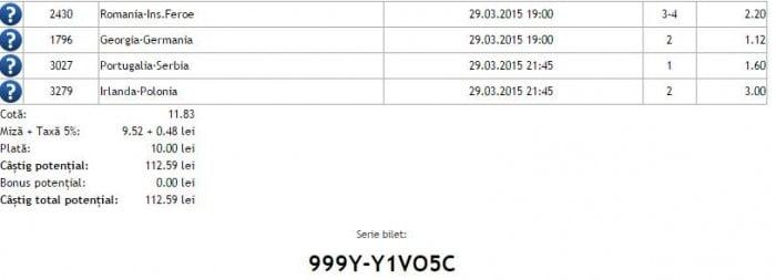 Bilet pariuri propus de Irinel pentru 29 martie 2015