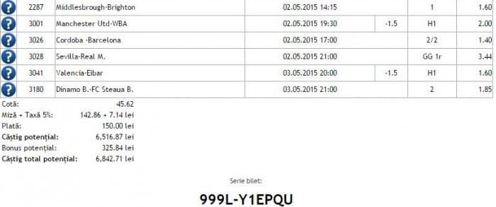Bilet pariuri propus de Lucian pentru 2 mai 2015