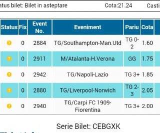 Bilet pariuri propus de Marcel pentru 20 septembrie 2015