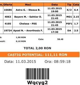 Bilet pariuri propus de Marian pentru 11 martie 2015