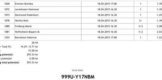 Bilet pariuri propus de Marian pentru 18 aprilie 2015
