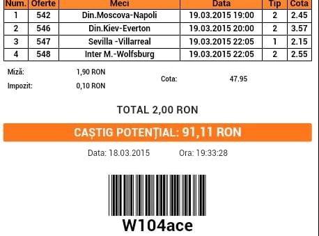 Bilet pariuri propus de Marian pentru 19 martie 2015
