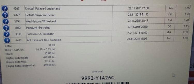Bilet pariuri propus de Marian pentru 23 noiembrie 2015