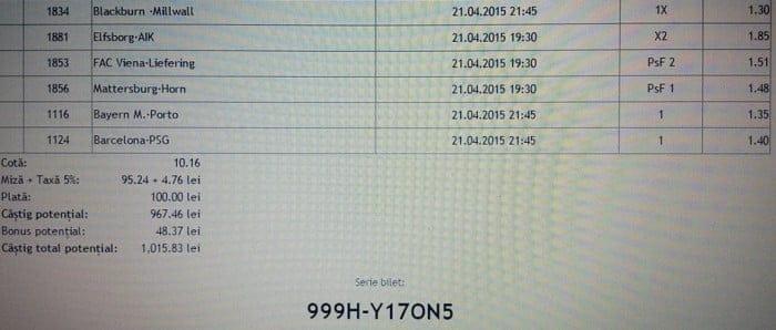 Bilet pariuri propus de Marius pentru 21 aprilie 2015