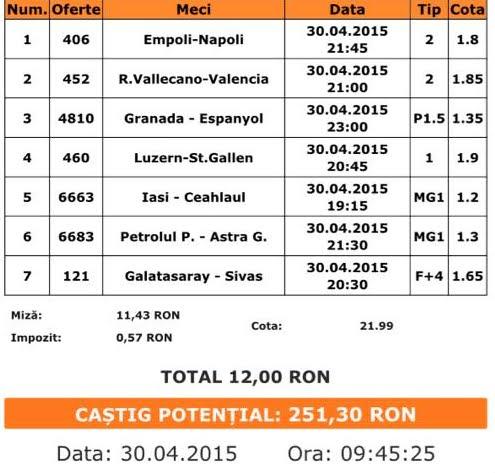 Bilet pariuri propus de Marius pentru 30 aprilie 2015