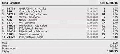 Bilet pariuri propus de Nicu pentru 23 martie 2015
