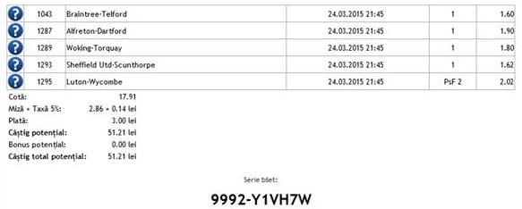 Bilet pariuri propus de Nicu1 pentru 24 martie 2015