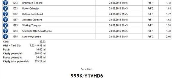 Bilet pariuri propus de Nicu2 pentru 24 martie 2015