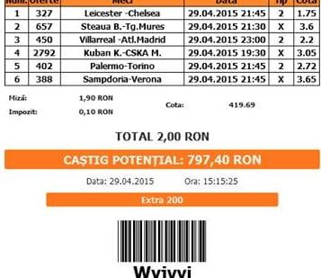 Bilet pariuri propus de Octavian pentru 29 aprilie 2015