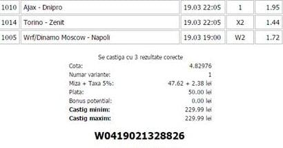 Bilet pariuri propus de Ovidiu pentru 19 martie 2015