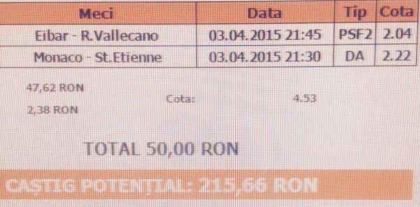 Bilet pariuri propus de Radu pentru 1 aprilie 2015