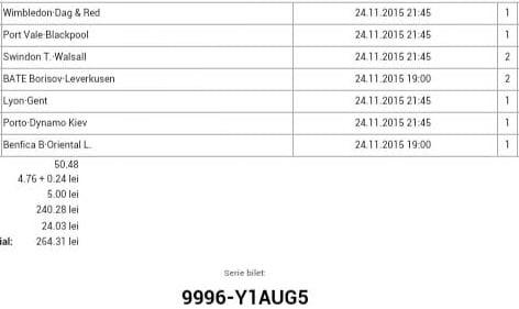 Bilet pariuri propus de Radu pentru 24 noiembrie 2015