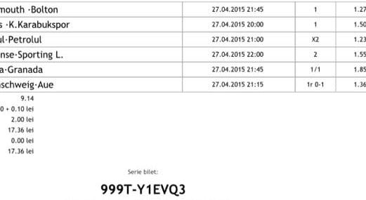 Bilet pariuri propus de Radu pentru 27 aprilie 2015