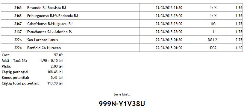 Bilet pariuri propus de Robert pentru 29 martie 2015