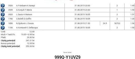 Bilet pariuri propus de Robert1 pentru 31 august 2015