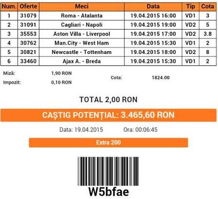 Bilet pariuri propus de Roberto pentru 19 aprilie 2015