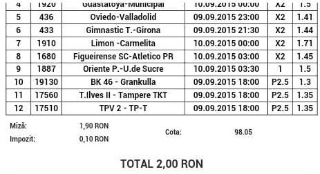 Bilet pariuri propus de Sandu pentru 9 septembrie 2015